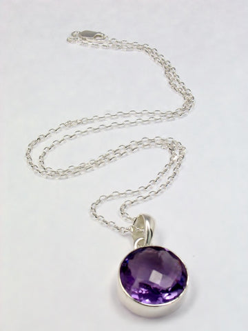 Deep Purple Amethyst Sterling Silver Necklace