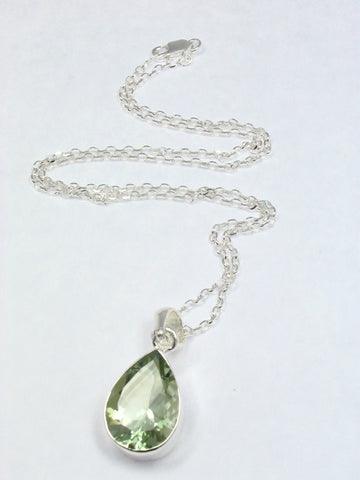 Pear Green Amethyst Sterling Silver Necklace