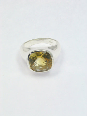 Cushion Cut Citrine Sterling Silver Ring