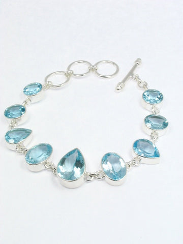 Blue Topaz Bezel Set Sterling Bracelet