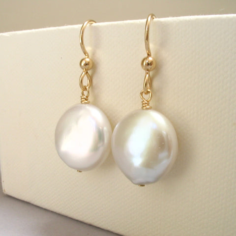 Cultured Freshwater Coin Pearl Earrings 14K Gold Filled