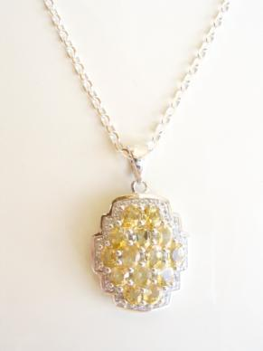 Citrine and White Topaz Sterling Silver Necklace