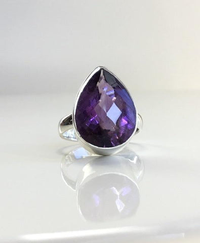 Large Pear Shape Amethyst Sterling Silver Ring
