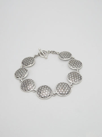 Flower of Life Sterling Silver Disc Bracelet