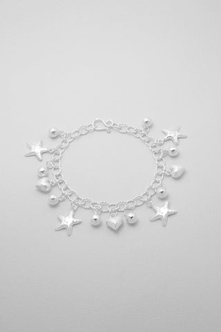 Starfish and Heart Sterling Charm Bracelet