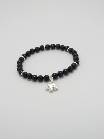 Black Onyx  Bracelet with Sterling Silver Elephant Charm