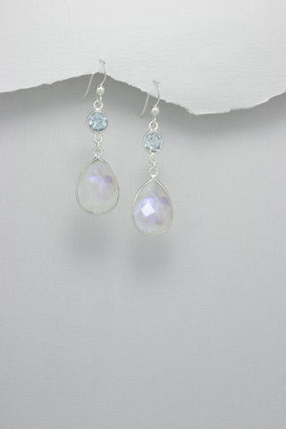 Rainbow Moonstone and Sky Blue Topaz Sterling Earrings