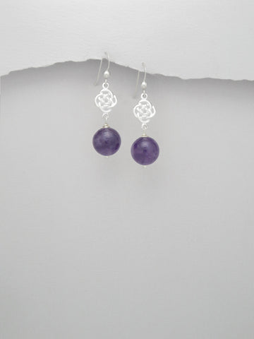 Celtic Design Amethyst Sterling Silver Earrings