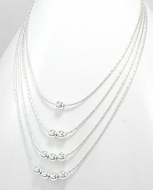 Graduated Multi Strand Sterling Silver Necklace with Beads