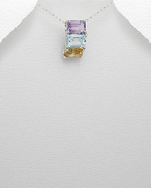 Blue Topaz, Citrine, Amethyst Sterling Necklace