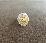 Citrine and White Topaz Sterling Silver Gemstone Ring