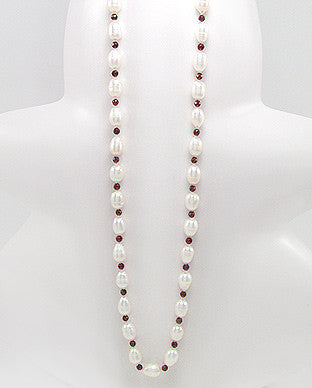 Freshwater Pearls and Garnet Hand Knotted Necklace