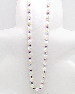 Freshwater Pearls and Amethyst Hand Knotted Necklace