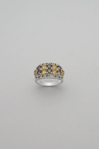 Citrine and Smoky Quartz Sterling Silver Band Ring