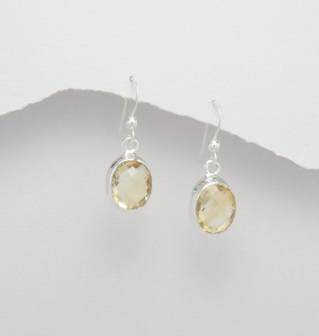 Oval Citrine Sterling Silver Earrings
