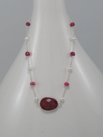 Ruby and Pearl Sterling Necklace