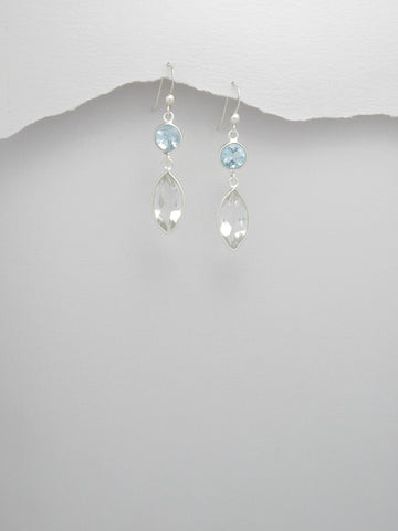Sky Blue and White Topaz Sterling Earrings