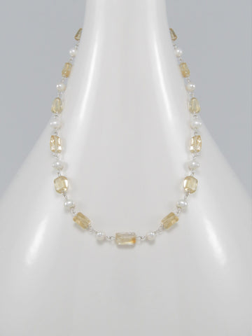 Citrine and Freshwater Pearl Sterling Silver Necklace