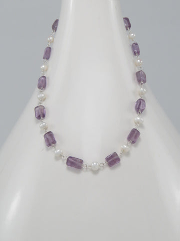 Amethyst and Freshwater Pearl Necklace Sterling Silver
