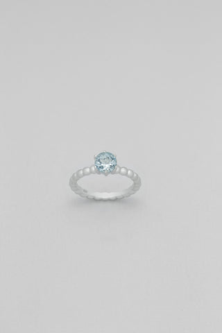 Sky Blue Topaz Solitaire Sterling Silver Ring