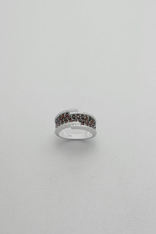 Pave Set Garnet Sterling Band Ring