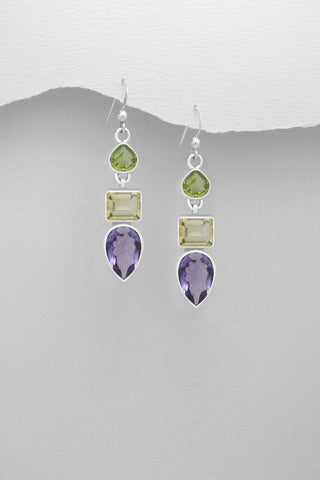 Peridot, Citrine and Amethyst Earrings in Sterling Silver
