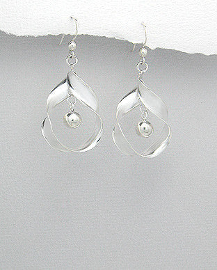 Ribbon and Ball Sterling Silver Earrings