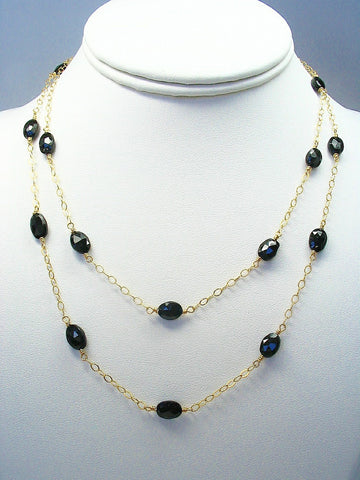 Black Spinel Long Station Necklace