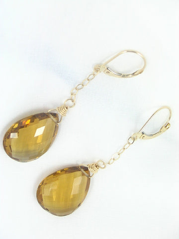 Whisky Quartz 14K Gold Leverback Earrings