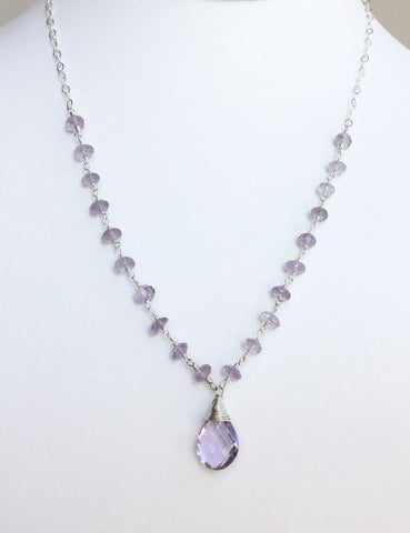 Pink Amethyst Beaded Gemstone Sterling Silver Necklace
