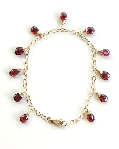 Garnet Bracelet 14K Gold Filled