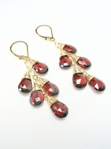 Garnet Cascade Gold Earrings