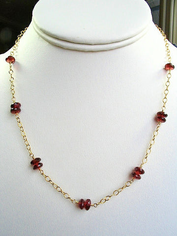 Garnet Station Gold Necklace