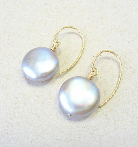 Gray Freshwater Coin Pearl Earrings