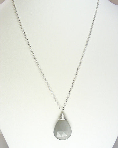 Large Gray Moonstone Necklace