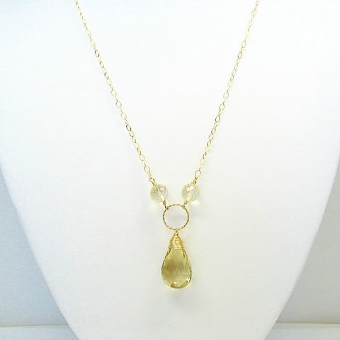 Honey Quartz and Citrine Gemstone Necklace