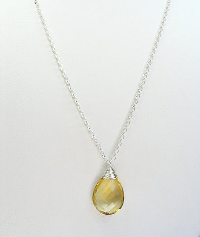 Honey Quartz Sterling Silver Necklace