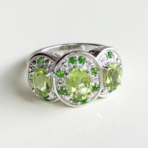 Peridot and Chrome Diopside Sterling Silver Band Ring