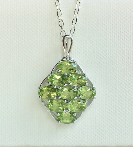 Peridot Gemstone Cluster Necklace Sterling Silver