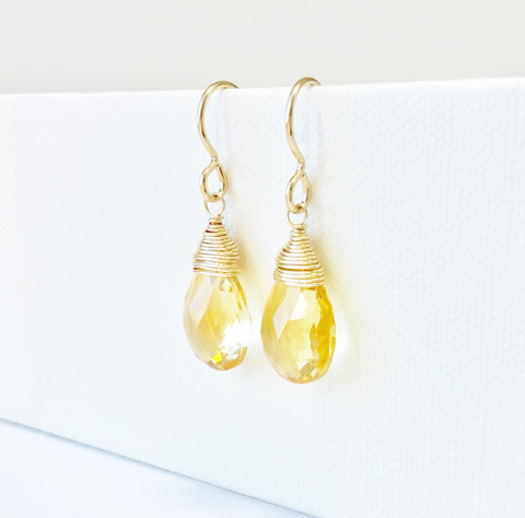 Citrine Dangle Gemstone Earrings 14K Gold Filled