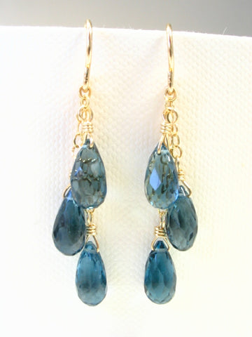 London Blue Topaz Gemstone Earrings