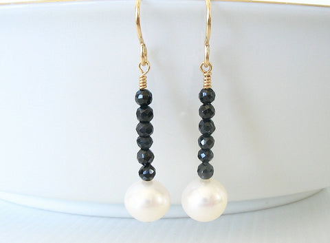 Pearl and Black Spinel Drop Earrings