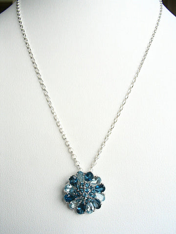 London Blue and Sky Blue Topaz Pendant Necklace
