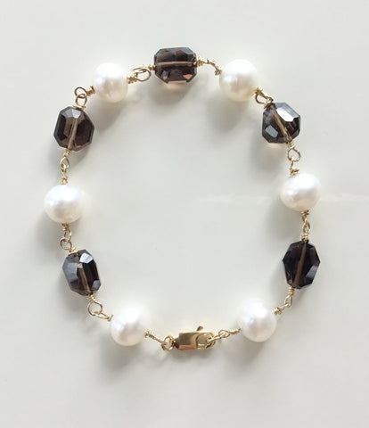 Smoky Quartz and Cultured Freshwater Pearl Bracelet 14K Gold Filled