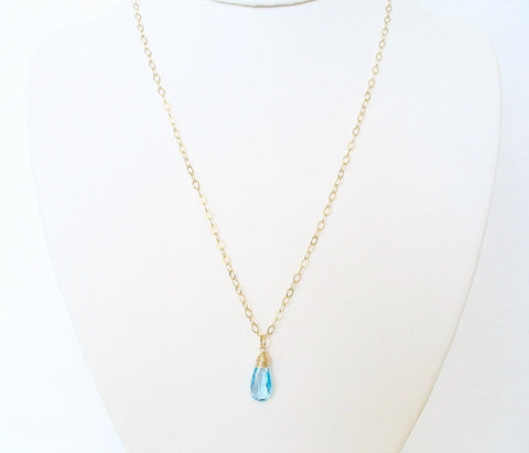Swiss Blue Topaz Gemstone Necklace