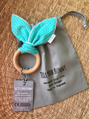 SALE. TillyBob Teether - Green Basics