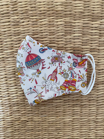 NEW! Liberty print 'Adventures in the Sky' - CHILD - Cotton Face Mask