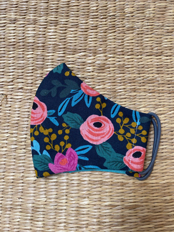BACK IN STOCK!- Cotton Face Mask - ADULT - rosa floral navy