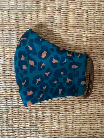 NEW! Cotton Face Mask - ADULT - teal leopard print