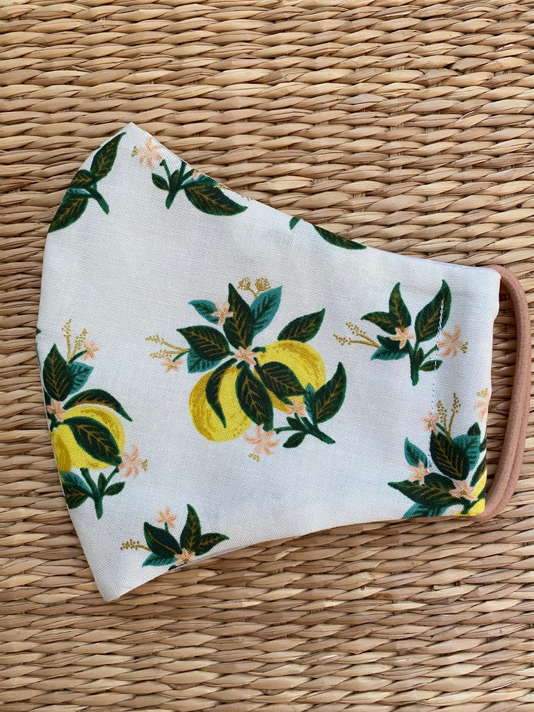 Rifle Paper Co. - Lemon Blossom - Adult Cotton Face Mask
